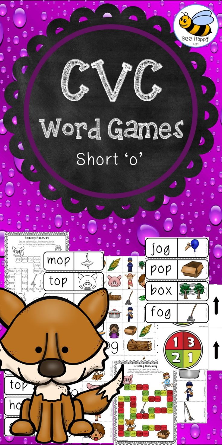 This resource has four small group games to practice and consolidate reading CVC words with the short 'o' sound: 1. Reading Raceway – a board game. 2. Find the Word – match a picture to the word. 3. Word Snake – similar to dominoes. 4. Concentration – find the matching cards. These games are suitable for literacy centers, small group work or even homework. All games are available in color and black & white. $
