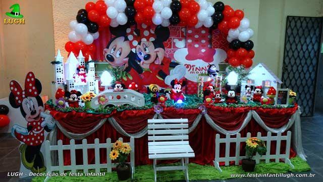 Decoracao Mesa De Tecido Tradicional Tema Minnie Mouse Vermelha