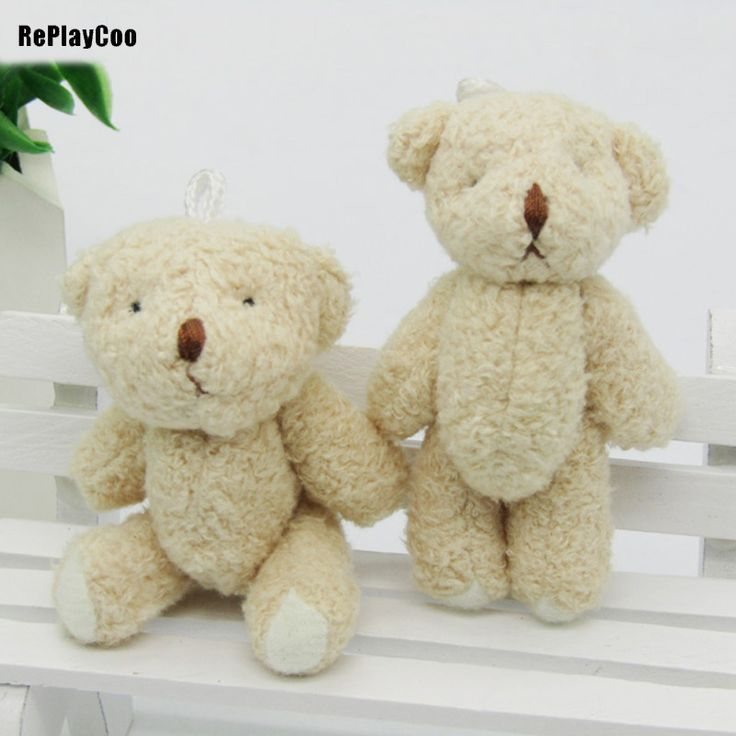 5PCS/LOT Kawaii Small Joint Teddy Bears Stuffed Plush 6.5CM Toy Teddy-Bear Mini Bear Ted Bears Plush Toys Brown Gifts 00603 #Affiliate