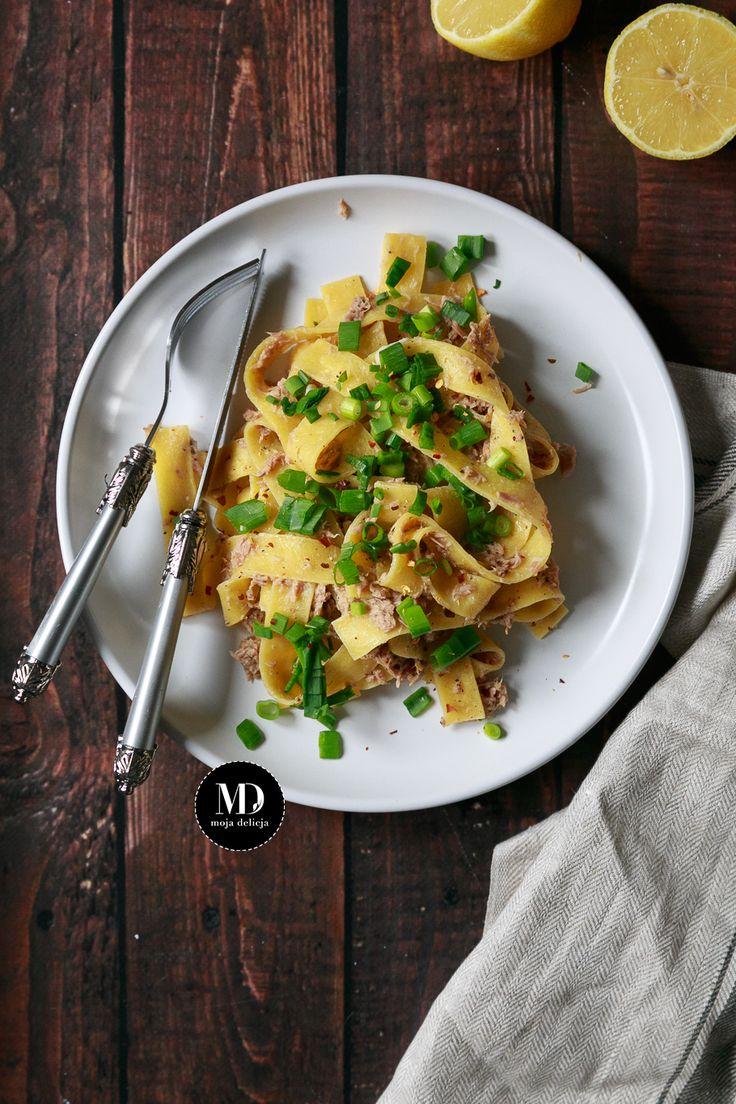 Szybkie danie w 5 minut. Makaron pappardelle z tuńczykiem. Prosty w przygotowaniu. // Pappardelle with tuna. Quick & easy recipe.    #mojadelicja #pasta #tuna #food #foodporn #photography #obiad #makaron #tunczyk #szybkie #proste
