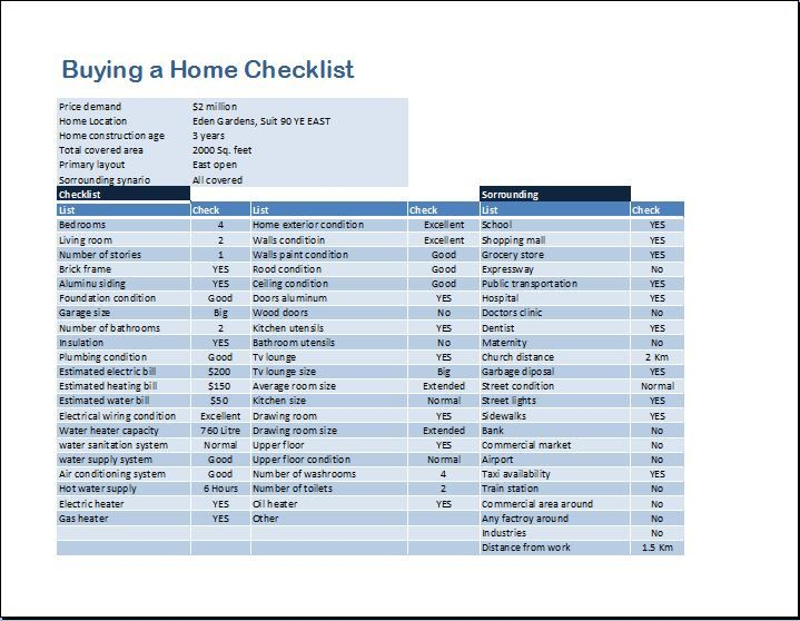 Buying A Home Checklist Template For Ms Word Word Excel Templates Excel Templates Personal Budget Template Checklist Template