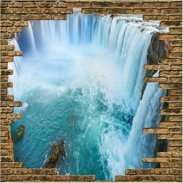 revêtement sol image en effet 3D chute d'eau