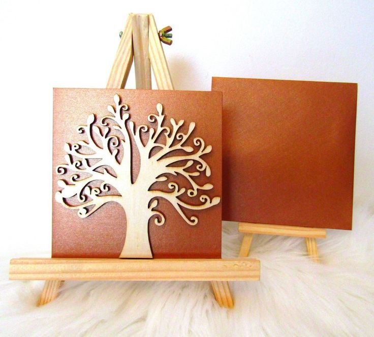 Copper Pearl 3D Wooden Tree of Life Greeting Gift Birthday Blank Card & Envelope