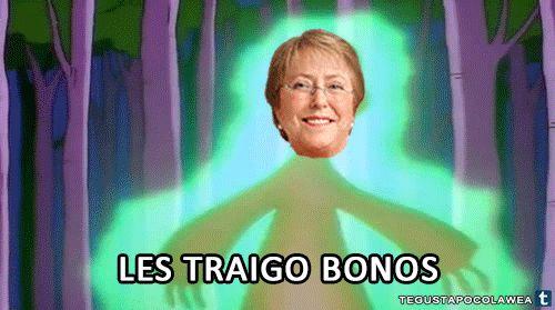 """""""Les traigo bonos"""" #MichelleBachelet #NuevaPillería"""