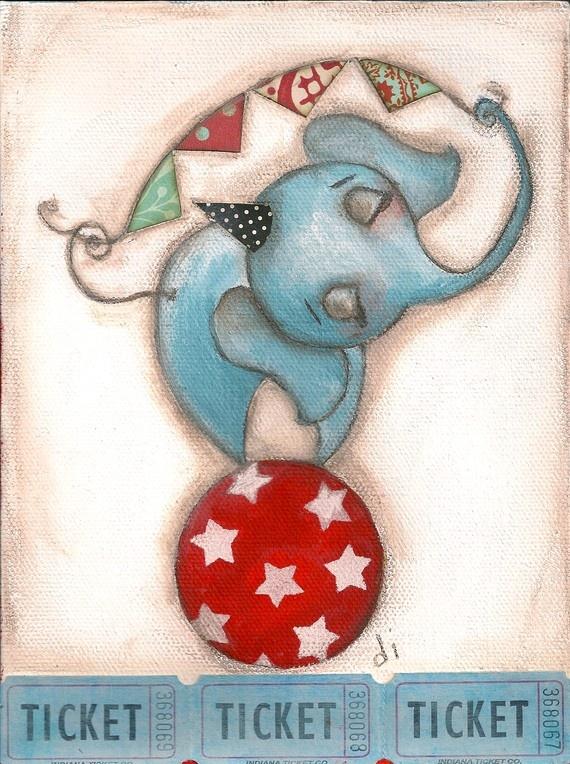 Print of my original folk art childrens circus by DUDADAZE on Etsy, $10.00