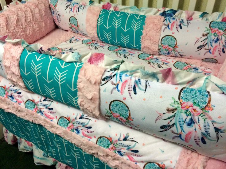 Dream catcher and Arrows Custom Baby Bedding with pink and teal- Baby girl bedding- Crib Bedding-