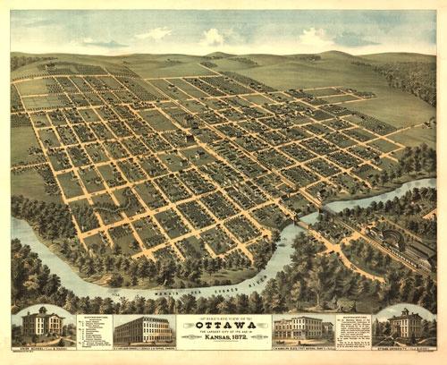 Historic Map – Ottawa, KS - 1872
