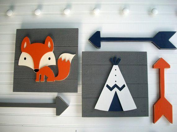 Adventure Nursery Set . Fox Sign . Teepee Sign . by RessieLillian