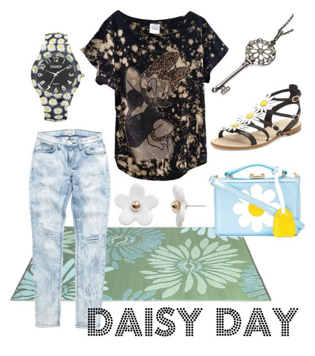 """""""It's a Daisy Kinda Day"""" by kaleidoscopekidco on Polyvore featuring Disney, Mark Cross, Current/Elliott, Kate Spade, Studio Time, Poporcelain and Tiffany & Co."""