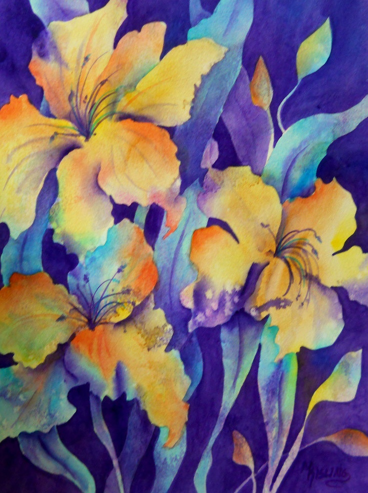 Watercolor of yellow purple and blue floral original for Purple and yellow painting
