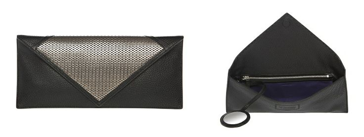 Tillander by Aki Choklat, BIANCA clutch, leather, black, purple, metallic, silver, Made in Italy