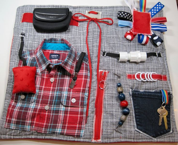 Masculine style (Red Plaid Shirt) Fidget, Sensory, Activity Quilt Blanket by TotallySewn on Etsy