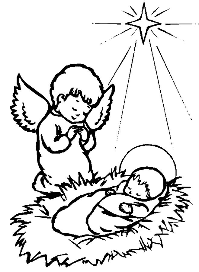 Christmas Angel Baby Jesus Coloring Page
