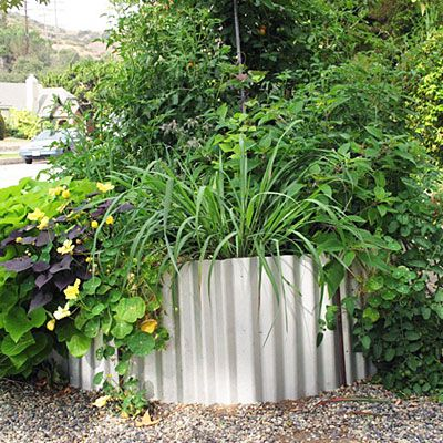 Bonus raised bed idea    For another take on a raised bed, make an free-form bed of corrugated galvanized steel like the one pictured here.