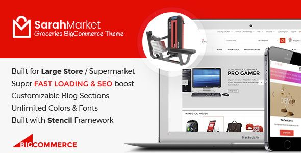 Clean, fast loading multi-purpose supermarket grocery BigCommerce themeThere are...