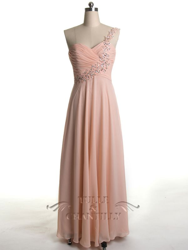 Blush Long Prom Dress/ Maid Of Honor Dress with Beaded Strap