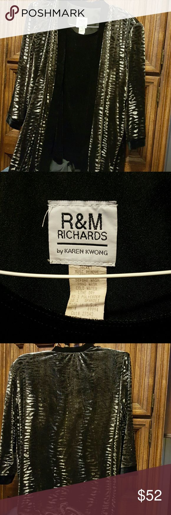 Black and Silver Cardigan w built in Cami Gorgeous black and silver cardigan with built-in shell. It looks like velvet,  feels like velvet but it's polyester and spandex. Striking piece R & M RICHARDS Sweaters Cardigans