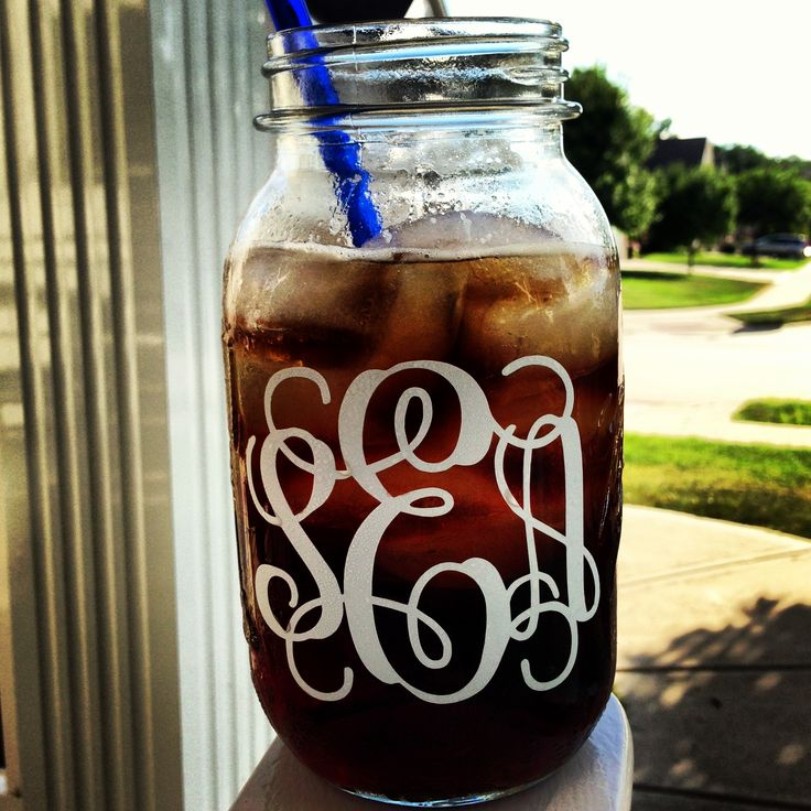 Monogrammed mason jars - Need to make some of these!  Love my vintage mason jars and these would be so fun to have.