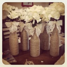 Wine bottles wrapped in twine