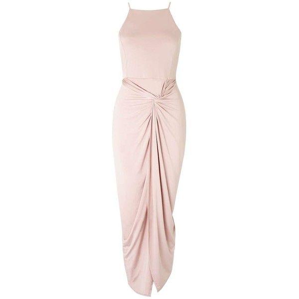 Miss Selfridge Twist Drape Midi Dress featuring polyvore women's fashion clothing dresses pink night out dresses ruched dress going out dresses cocktail party dress midi pencil dress