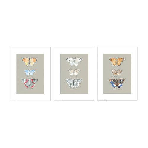 TRILLING Bilde, sett med 3 IKEA Motiv av Emma Evans-Freke. Motivene har et felles tema slik at du kan lage en enhetlig montasje.