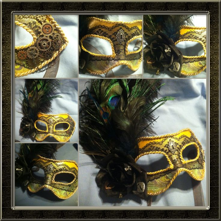 Steampunk masquerade mask that I made myself. Started with a plain white mask, than added paint, decoupage, lace, trimmings, feathers and gears.