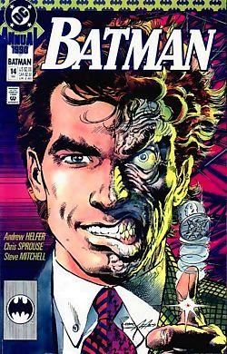 Two-Face from Batman- facial disfigurements shown as evil
