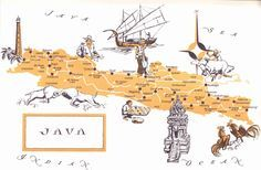 Old Map of Java, Indonesia