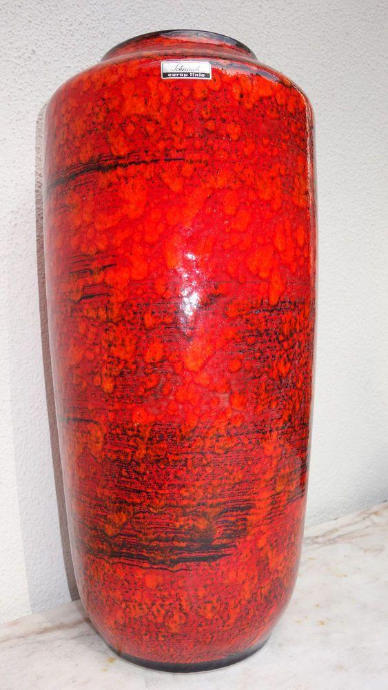 Scheurich Fat Lava Keramik Vase rot orange schwarz glasiert Markung 517-45 europ   eBay