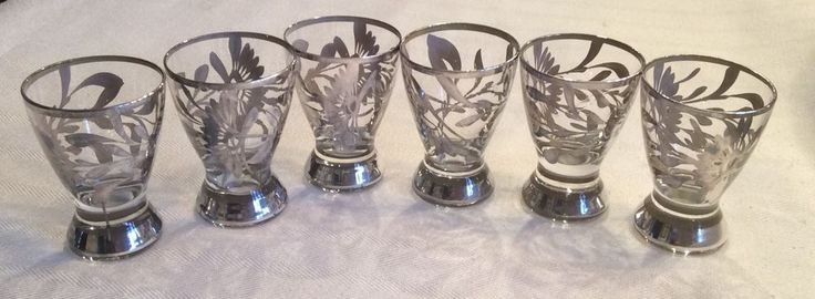 """SET OF 6 UNIQUE VINTAGE STERLING SILVER FLORAL OVERLAY 2.5"""" TEQUILA SHOT GLASSES #Unknown"""