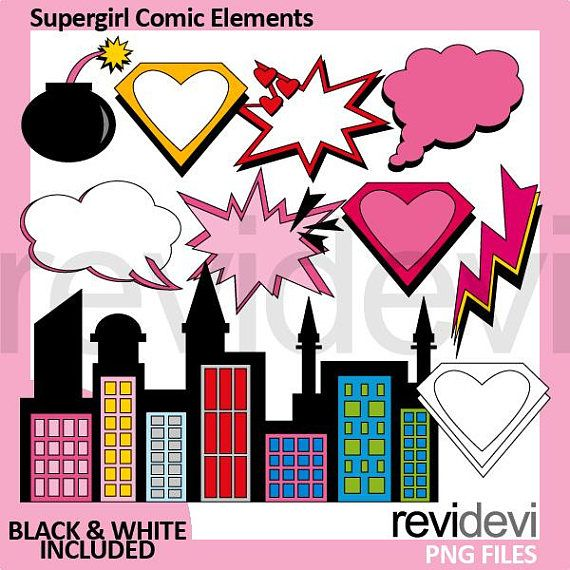 Supergirl Comic Elements Clipart Superhero Graphic Clip Art