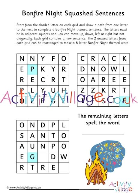 bonfire night squashed sentence puzzle these arent easy click through to the website for the printable