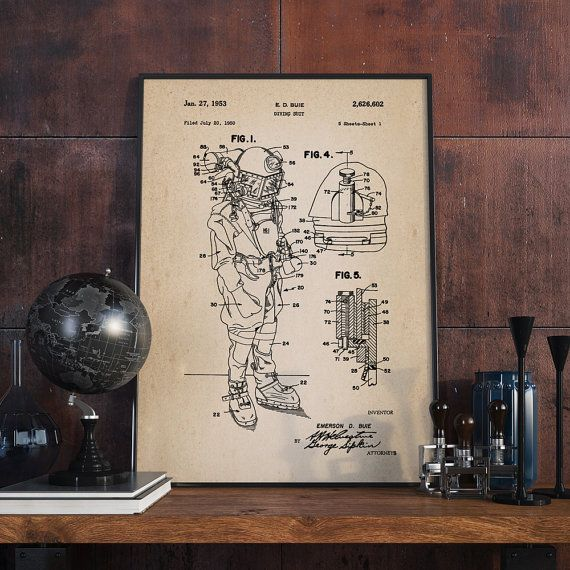 Diving Suit Patent Print Scuba Diving Suit Nautical by dalumna http://www.deepbluediving.org/six-epic-scuba-dives-for-every-adventurer/