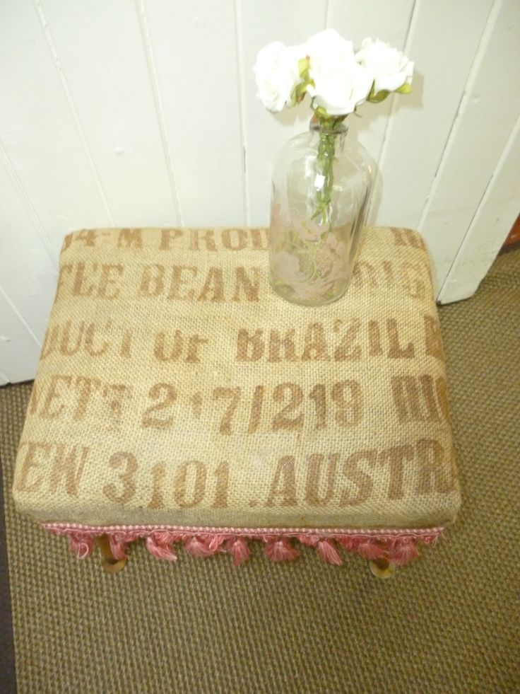 Rustic Hessian Stool with pink trim. www.capeoflove.com
