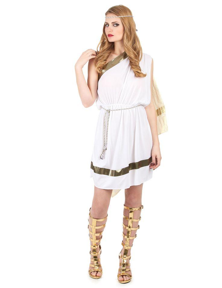Disfraz de romana para mujer: Este disfraz de romana para mujer se compone de una túnica blanca con capa corta dorada, un cinturón dorado y una corona. La cintura del vestido es elástica para mayor comodidad....
