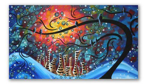 """""""Invierno y fuego"""" - Paisaje realizado al estilo de dibujos animados. Muestra un poblado moderno, observado desde un árbol, por 4 pajarillos, quienes desde el crudo invierno y en plena tormenta, miran hacia la calidez incipiente que se posa sobre la ciudad.  Se trata de un óleo detallista donde las figuras de primer plano aparecen en colores puros y delineados limpios.     El fondo realizado con espátula, muestra difuminados entre el azul marino y el rojo."""