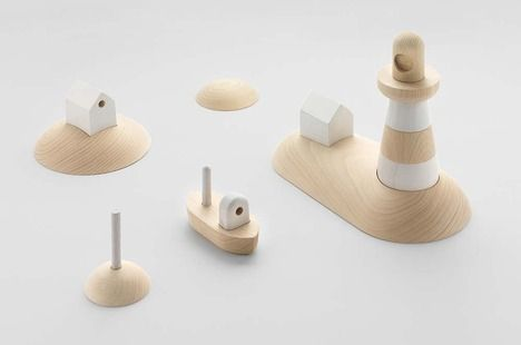 Norwegian design studio Permafrost has added two new sets of wooden toys, Shipping and Archipelago, to a series called Offshore originally begun to reflect on Nordic identity.