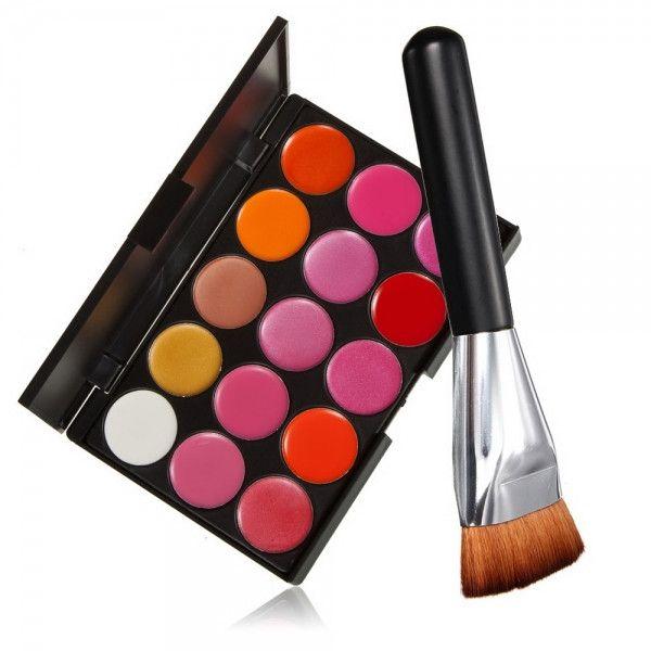 Pro Mix 15 Color Lip Gloss Lipstick Palette Set Cosmetic Makeup + Flat-end Brush