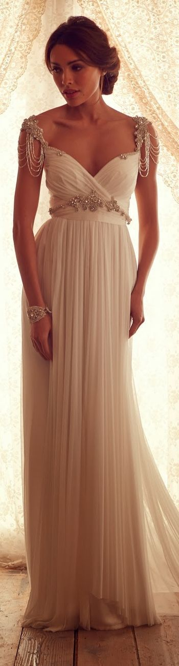 gorgeous chiffon elegant beaded cap sleeves vintage wedding dress #vintage #wedding #dress