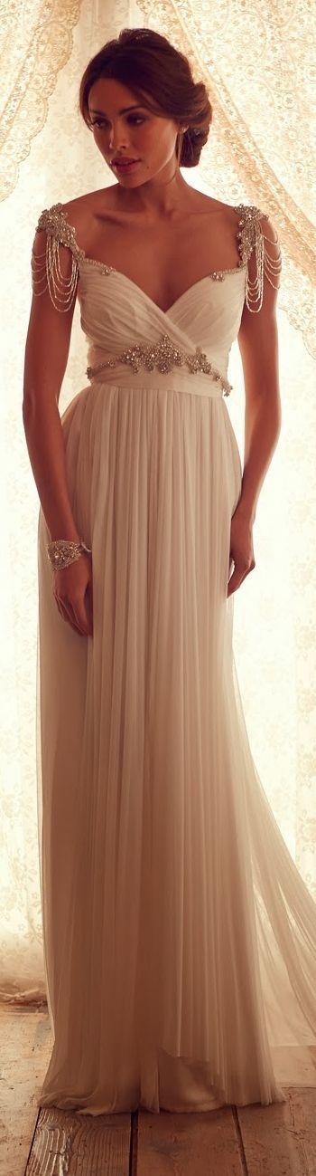 gorgeous chiffon elegant beaded cap sleeves vintage wedding dress #vintage #wedding #dress
