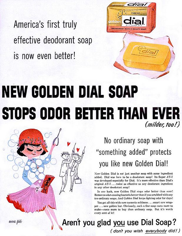 vintage Dial soap ad Illustrated by Winnie Fitch, 1957