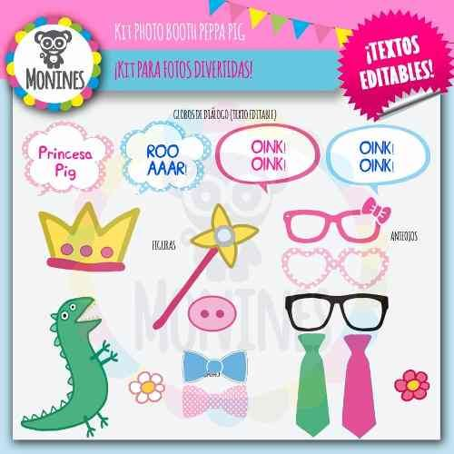 Kit Imprimible Photo Booth Peppa Pig (texto Editable) - $ 30,00