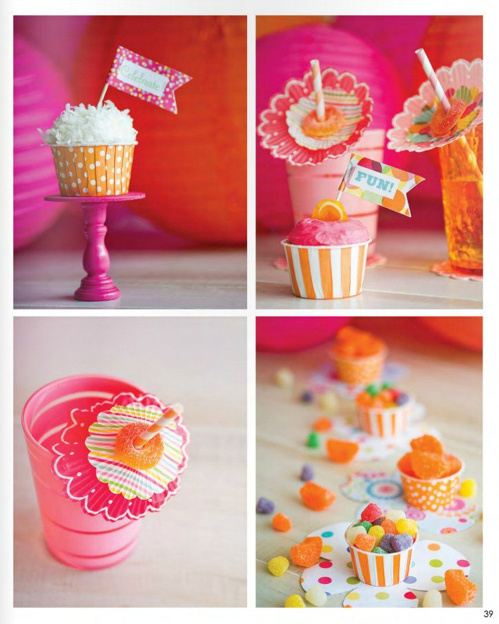 pink and orange party ideasCupcakes Liner, Birthday Parties, Parties Dresses, Colors Theme, 1St Birthday, Pink And Orange Parties Ideas, Cupcakes Stands, Party Ideas, Birthday Ideas