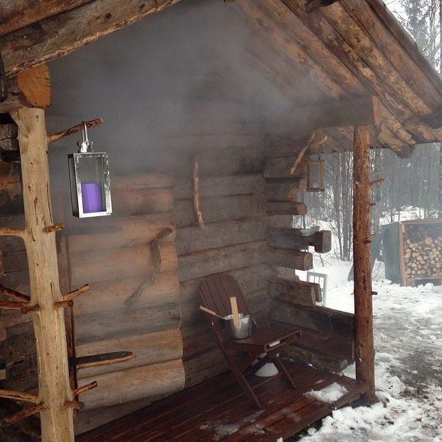 Traditional smoke sauna in Finland.