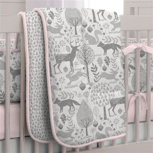 Pink and Gray Woodland Crib Bedding by Carousel Designs.