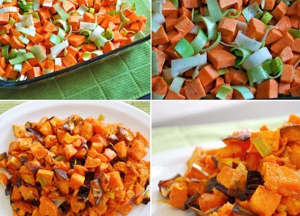 Baked Sweet Potato & Leeks