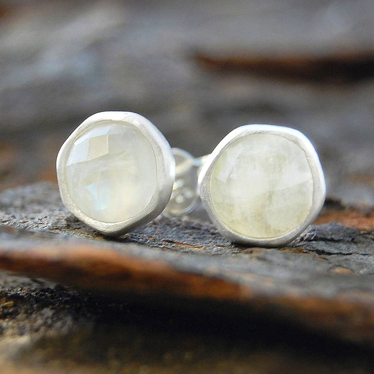 Embers Gemstone Jewellery Moonstone Sterling Silver Stud Earrings
