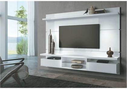 Painel Suspenso com Bancada para TV 19s de 60 Polegadas Livin 2.2 Branco - HB Móveis