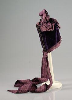 Bonnet Designer: Mrs. M. Courtney Date: ca. 1870 Culture: American Medium: Silk, beads, metallic