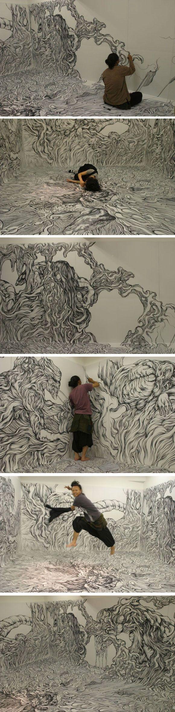 Une incroyable pièce totalement illustrée au marqueur par l'artiste japonais Yosuke Goda.: